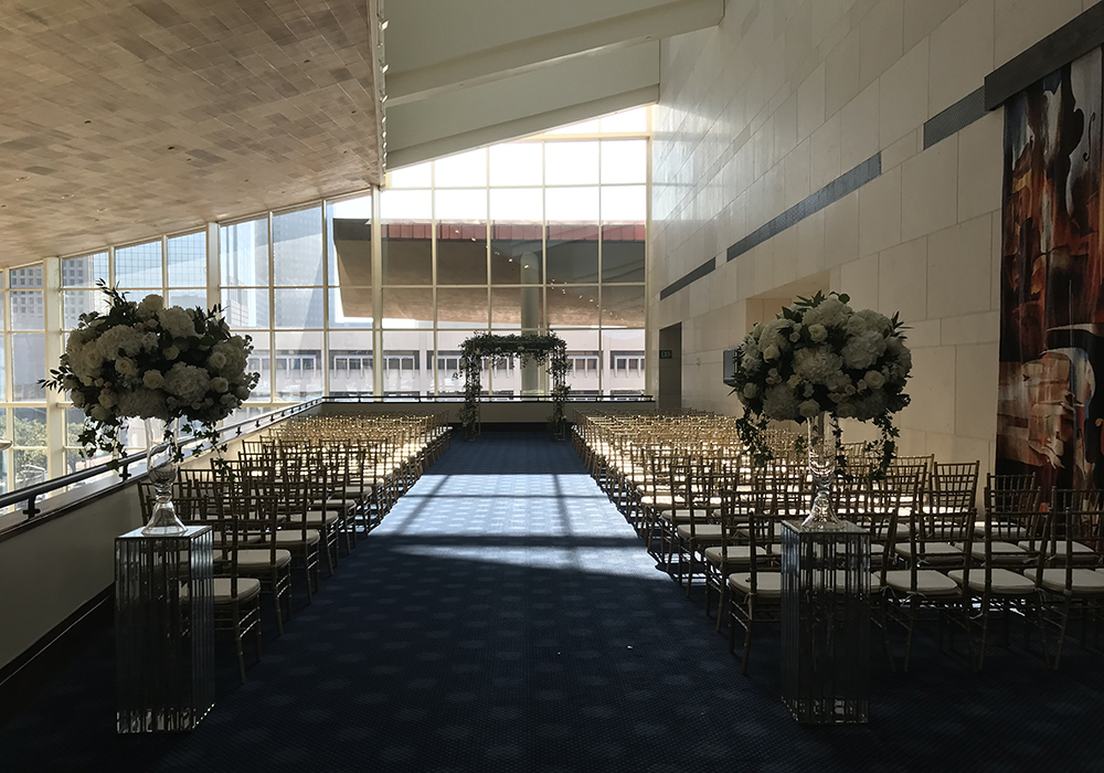Wedding ceremony in the Gallery Lobby - combined with a reception in the Grand Lobby