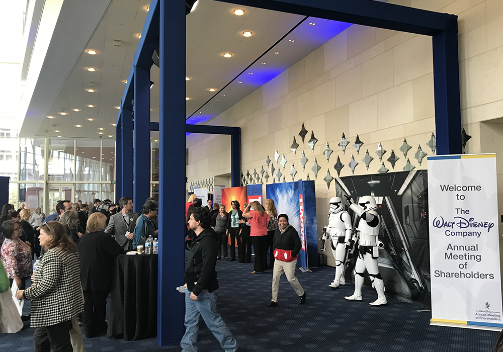Lobby activation for the Walt Disney 2018 Annual Meeting of Shareholders