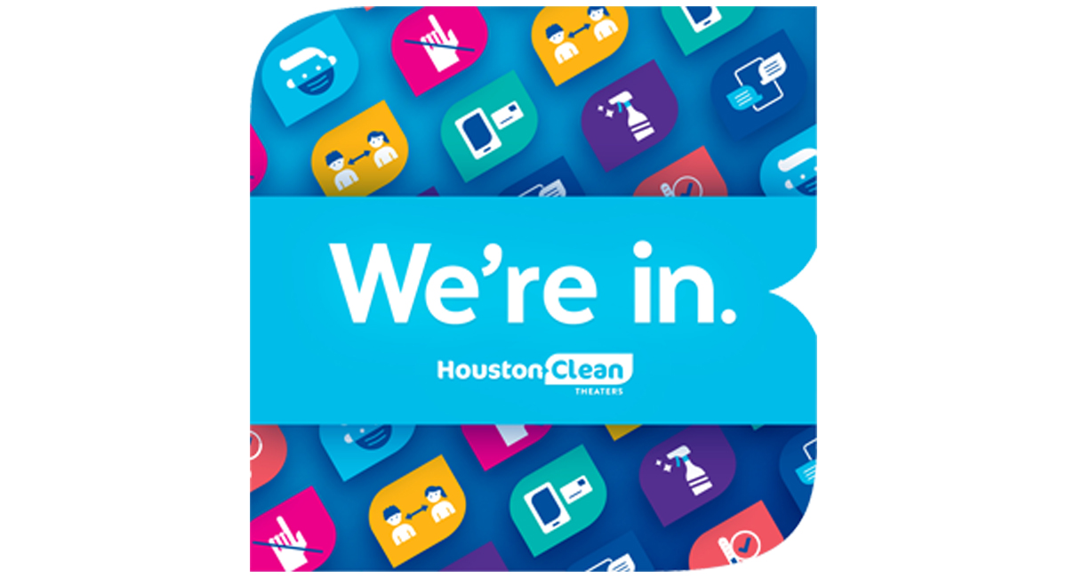 """Colorful graphic that says """"We're in."""" and displays the Houston Clean logo"""