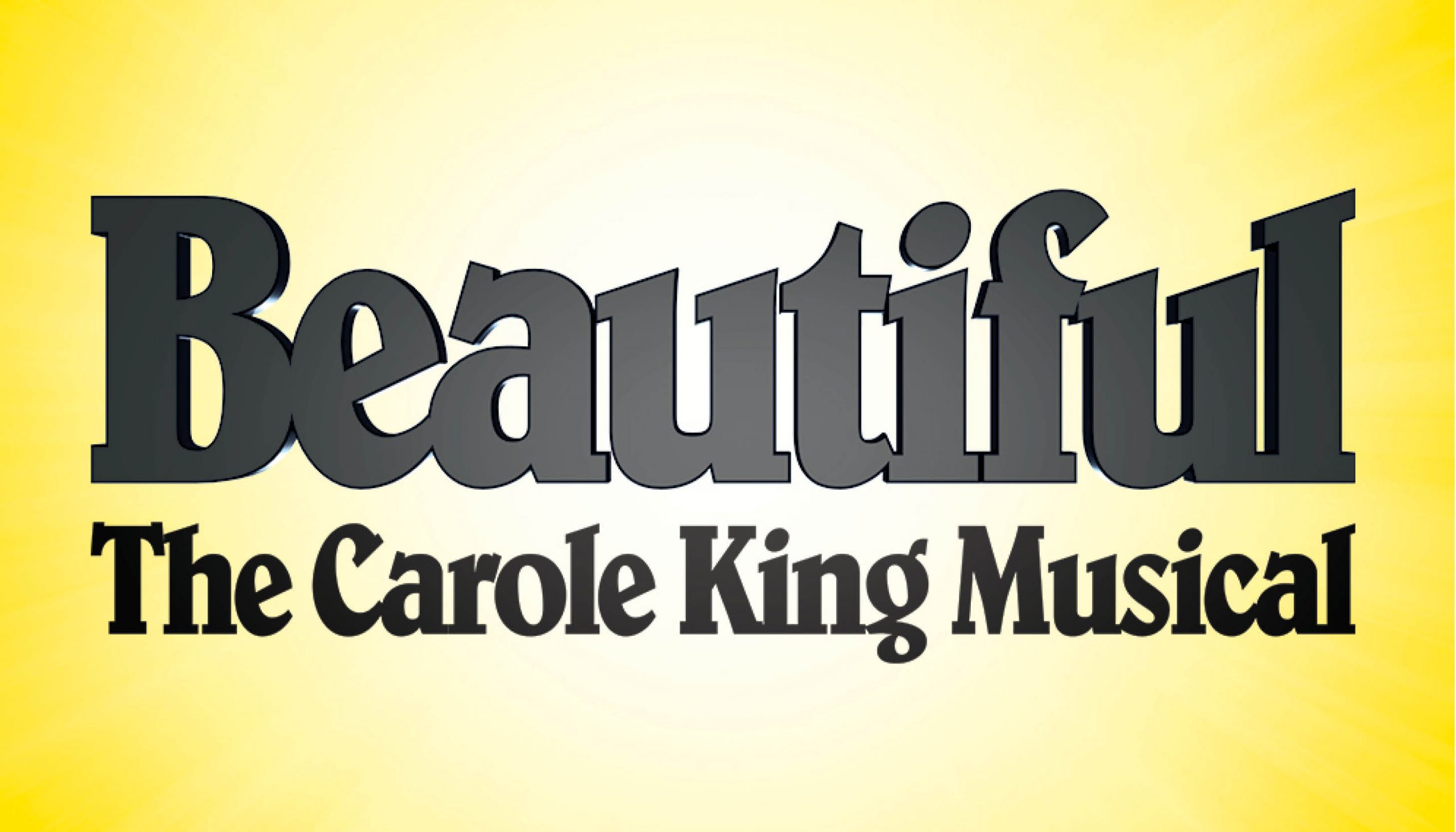 """The title """"Beautiful The Carole King Musical"""" with light coming from behind"""