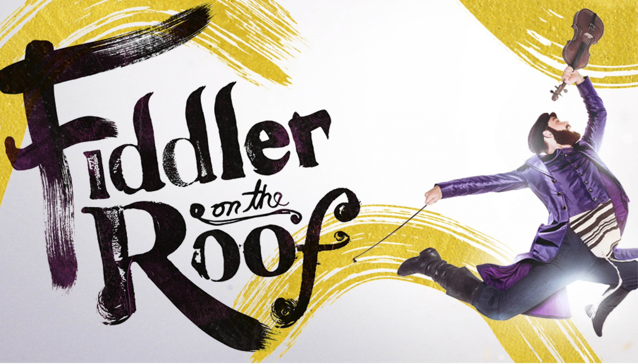Fiddler on the Roof title with performer in motion